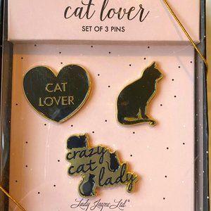Lady Jayne Cat Lover Set of 3 Enamel Pins  NIB